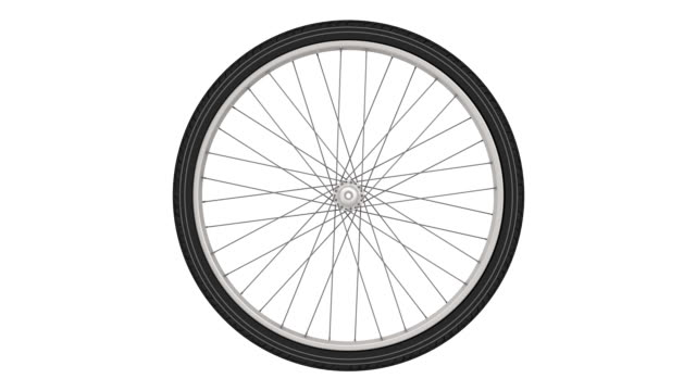 Bicycle wheel Rotating bicycle wheel isolated on a white background. Footage video wheel stock videos & royalty-free footage