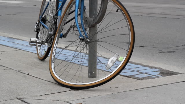 Bicycle with bent front wheel. video