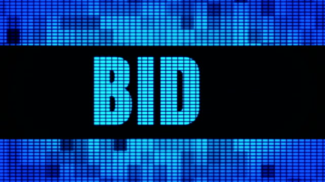 bid front text scrolling led wall pannel display sign board - gebot stock-videos und b-roll-filmmaterial