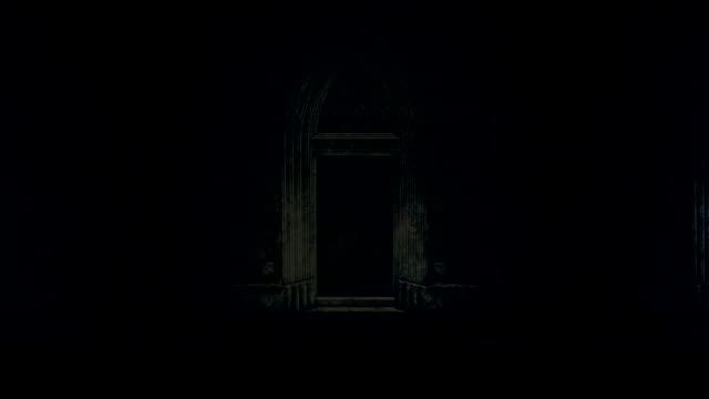big and spooky castle door at night under a lightning storm and rain - gothic fashion stock videos and b-roll footage