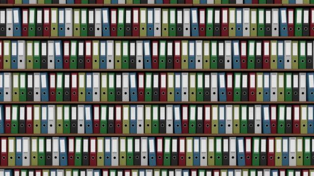 大きなアーカイブの完全色のバインダー水平ドリー ショット。fullhd シームレス ループできる映像 - ファイル点の映像素材/bロール