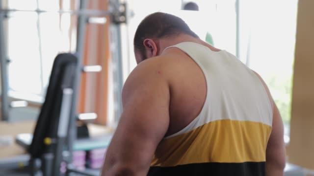 vídeos de stock, filmes e b-roll de grande parte de trás de um poderoso halterofilista - braço humano