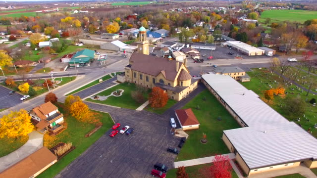 Big beautiful Christian Church in small town America video