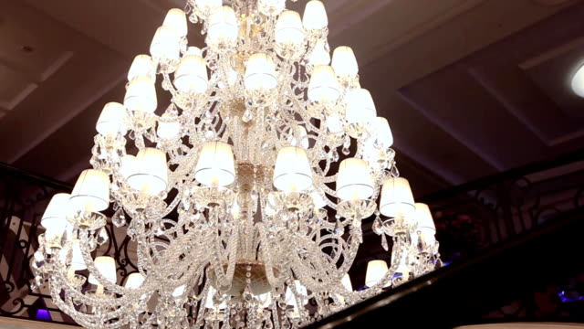 big beautiful vintage chandelier, classic chandelier, beautiful decoration - victorian architecture stock videos & royalty-free footage