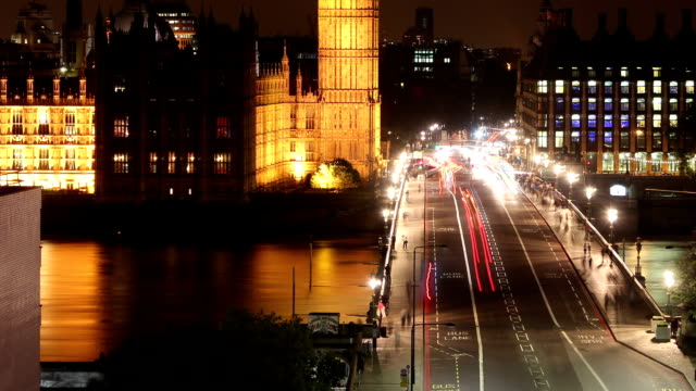 big ben across westminster bridge at night tilt up right and zoom out video