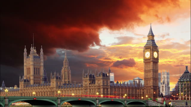 Big Ben and Houses of Parliament, London, Time lapse video