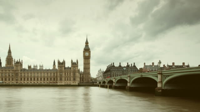 Big Ben and Parliament in London panning timelapse video