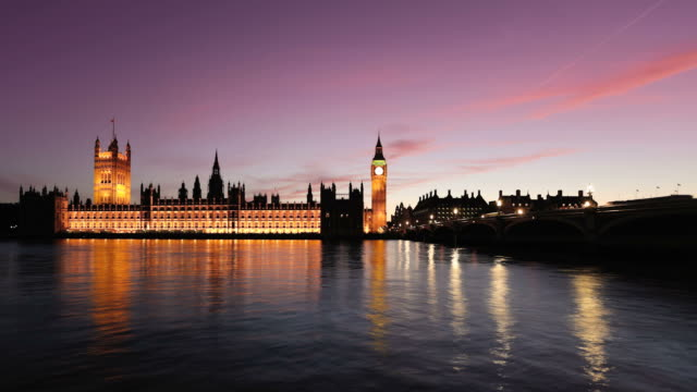 big ben and river thames at dusk timelapse, hd video - victorian architecture stock videos & royalty-free footage