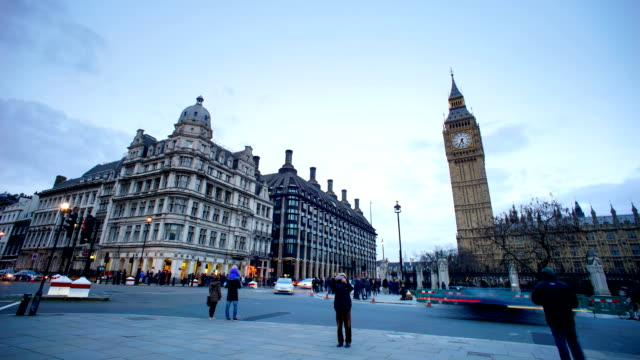 Big Ben and Westminster abbey in London, UK, timelapse video