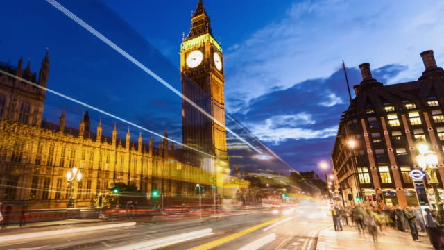 Big Ben at sunset in London video