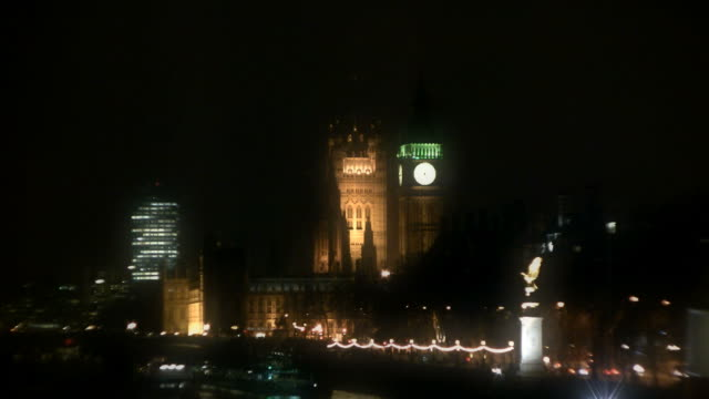 Big Ben Clock Tower at Night (London, England) video