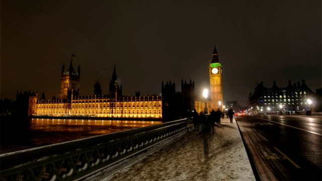 Big Ben clocktower at dusk, London video