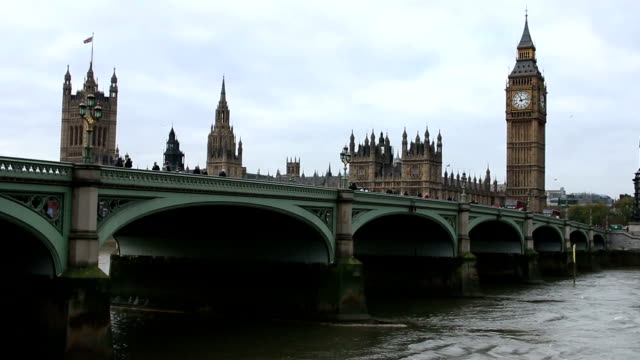 Big Ben, House of Commons and Westminster Bridge. video