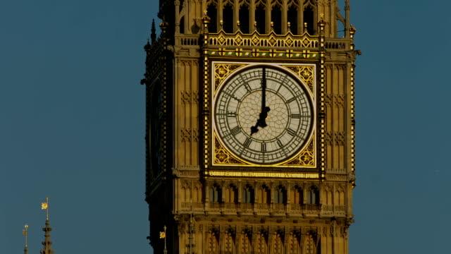 Big Ben in London CU static striking 7 o'clock video