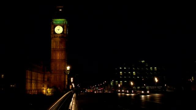 Big Ben, London from Westminster Bridge - Night video