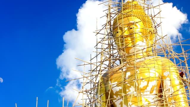 Big buddha statue under restoration, timelapse video