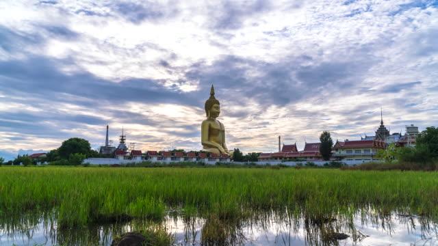 Big buddha Wat Muang landmark of Ang Thong Province, Thailand