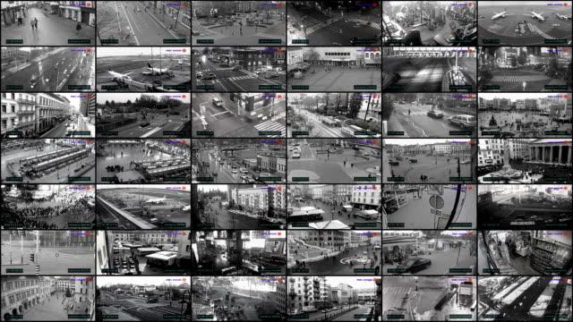 großen cctv-split-screen, überwachung kameraüberwachung - überwachungskamera stock-videos und b-roll-filmmaterial