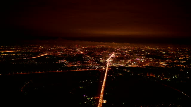Big City at Night Aerial View, Moscow, Russia video