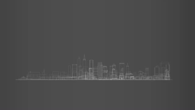 Big city skyline in 360 rotation cycle hologram video