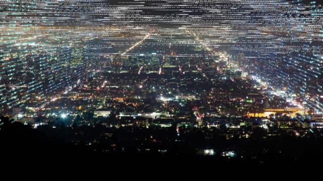 Big city urban sprawl with digital ticker tape grids
