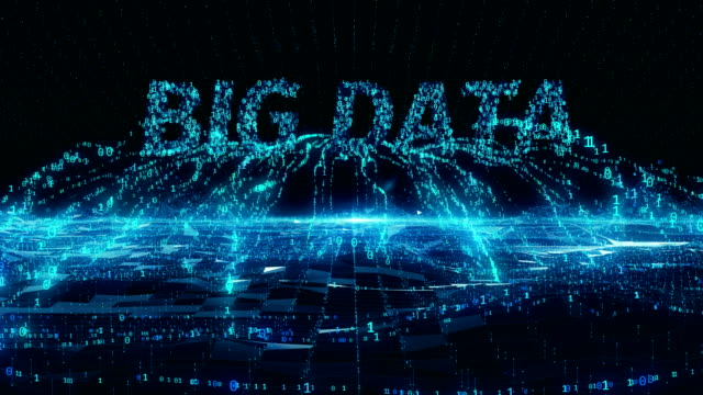 Big Data internet mobile blue digital concept 4k uhd - Vidéo