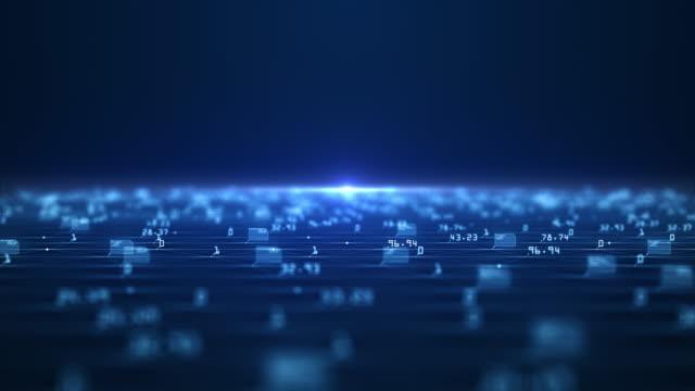 vídeos de stock, filmes e b-roll de conceito de visualização de big data. algoritmos de aprendizado de máquina. análise de informação. dados de tecnologia e rede de código binário transmitindo conectividade, complexidade e inundação de dados da era digital moderna. - big data