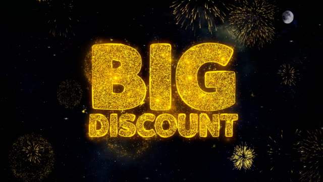Big Discount Text Wishes Reveal From Firework Particles Greeting card.
