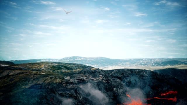 wielki smok latający nad pustynnym tłem animacji renderowania 3d - smok postać fikcyjna filmów i materiałów b-roll
