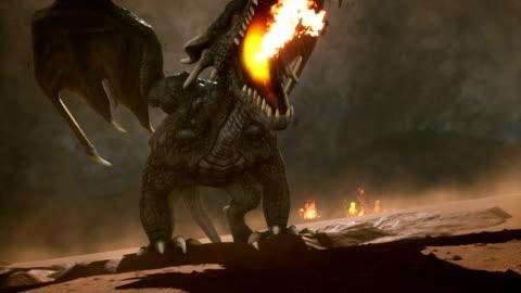 vidéos et rushes de grand dragon dans le désert à la recherche de ses ennemis. fond fantastique d'animation 3d - imagination
