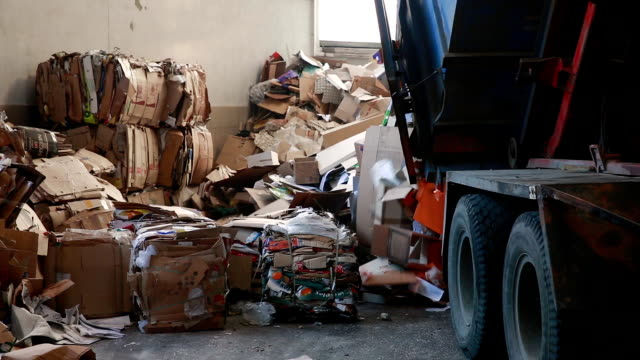 große fabrik für das recycling von papier und karton - altglas stock-videos und b-roll-filmmaterial