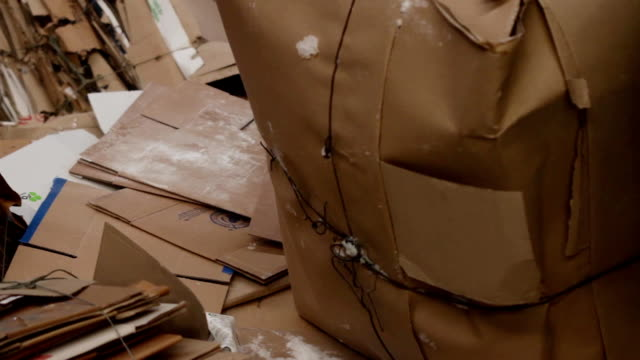 vídeos de stock e filmes b-roll de big factory for recycling paper and carboard - cardboard box