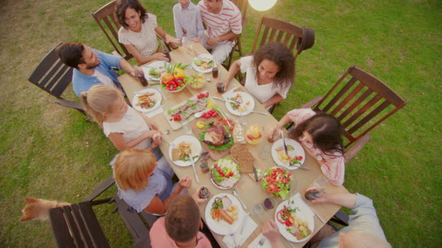 big family garden party celebration, gathered together at the table relatives and friends, young and elderly are eating, drinking, passing dishes, joking and having fun. elevating top down camera shot. - picnic video stock e b–roll