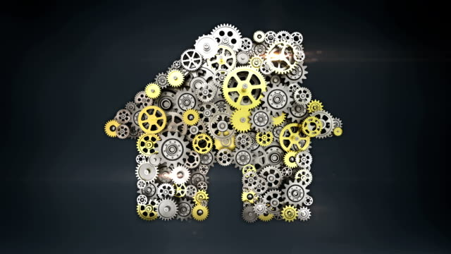 Big gears gathered house, residence shape animation. Big gears gathered house, residence shape animation. house rental stock videos & royalty-free footage
