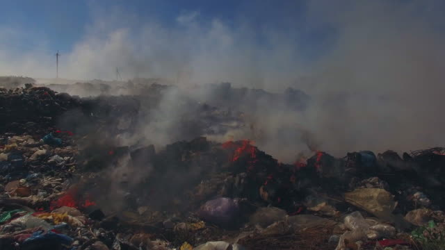 Big Heap Of Garbage Burning At Landfill video