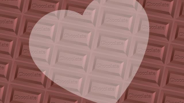 チョコレートの背景パターンを持つ大きな心 - バレンタイン チョコ点の映像素材/bロール