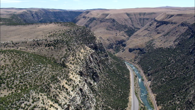 Big Horn Canyon South End  - Aerial View - Wyoming,  Fremont County,  helicopter filming,  aerial video,  cineflex,  establishing shot,  United States video