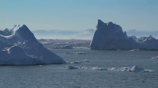 big icebergs at Ilulissat, Greenland on artic ocean video