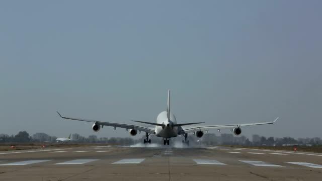big jet airplane flying overhead HD video