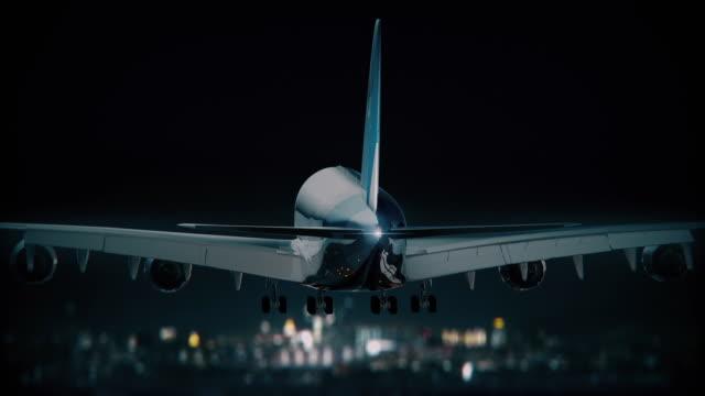Big Jumbojet landing at night video