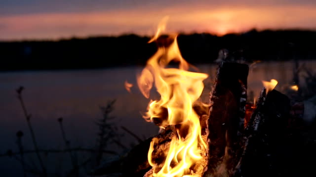 Big Night Bonfire On The Riverbank - video