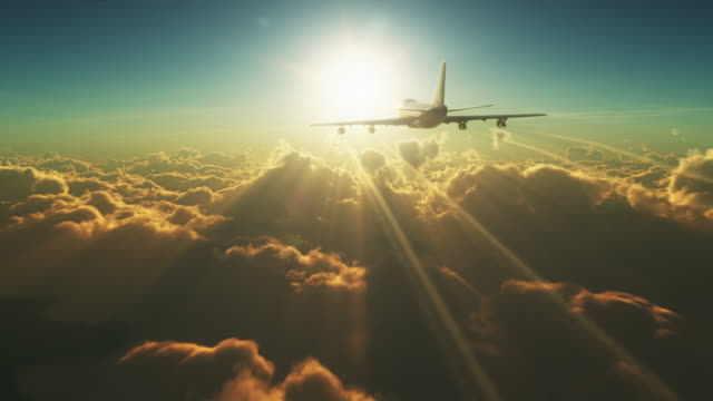 Big plane above the clouds video