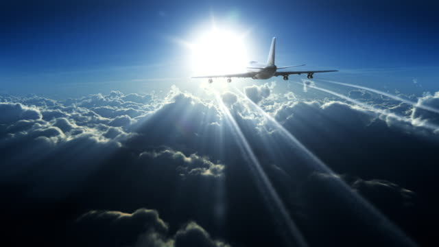 big plane above the clouds - business travel stock videos and b-roll footage