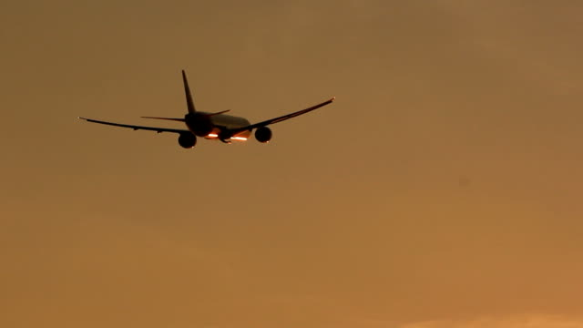 Big plane landing at dusk video