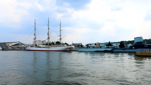 Big pleasure boats moored in Polish sea harbor, tourist transportation, sequence video