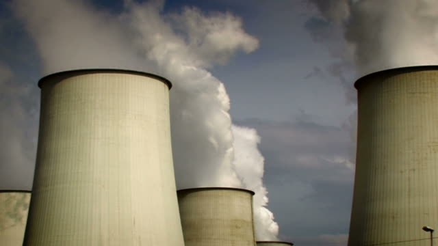 big power plant, air pollution - zoom video