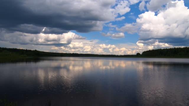 Big pure lake under blue sky video