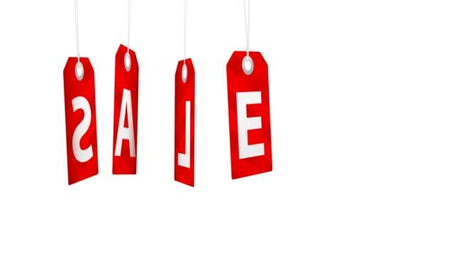Animación con venta grande rojo giratorio para etiquetas de ventas y promociones - vídeo