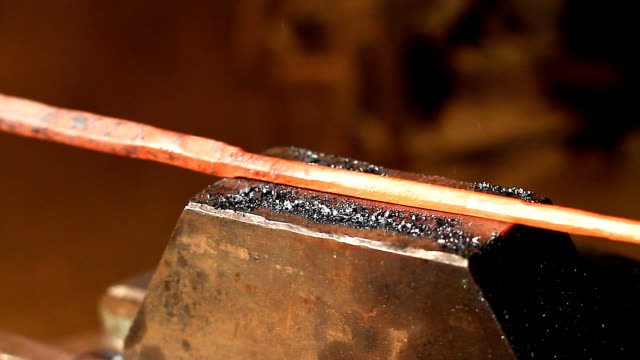 Big Sledgehammer Big sledgehammer blows on a hot stick anvil stock videos & royalty-free footage