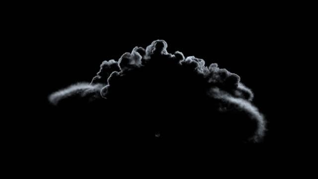 big smoke formation rising in highly contrast back light. - potwór filmów i materiałów b-roll